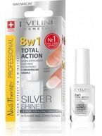 Eveline Nail Therapy 8w1 Total Action Silver Shine - Skoncentrowana odżywka do paznokci z drobinkami srebra 12ml